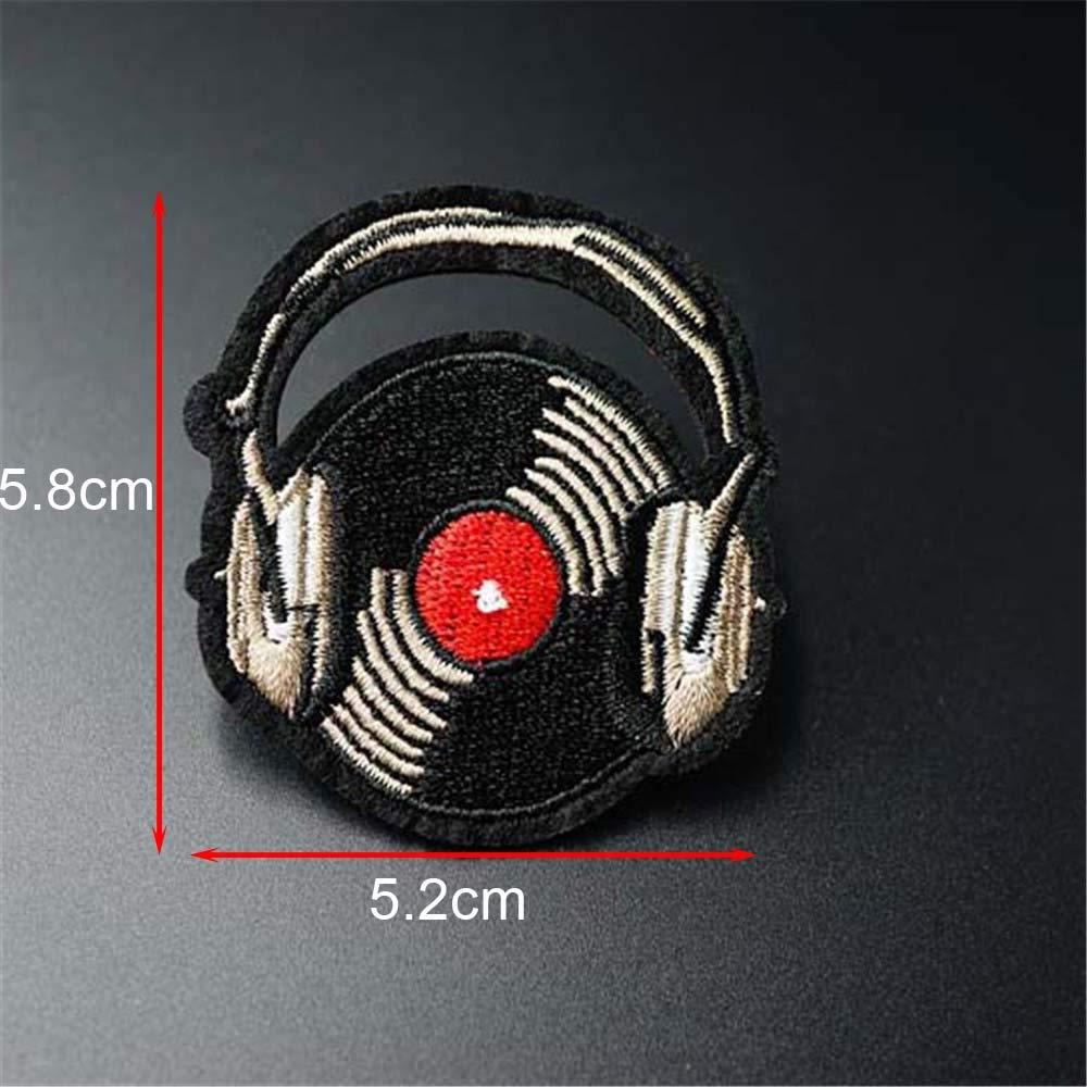 Parche de la música de registro,5.2x5.8cm Hierro en parche Coser tela de apliques bordada para ropa de insignia de chaqueta Etiquetas: Amazon.es: Hogar