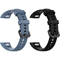 (2-Pack) Replacement Bands for Huawei Honor 4, Classic Silicone Replacement Accessory Soft Water-Proof Straps Comfortable Wristband Compatible with Huawei Honor 4 Activity Tracker