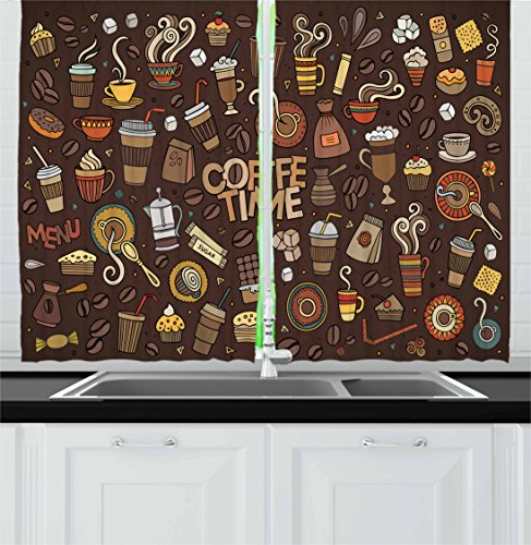 Coffee Kitchen Curtains by Ambesonne, Hand Drawn Cartoon Coffee Time Theme Sweets and Drinks Ornamental Symbols, Window Drapes 2 Panel Set for Kitchen Cafe, 55 W X 39 L Inches, Brown Multicolor
