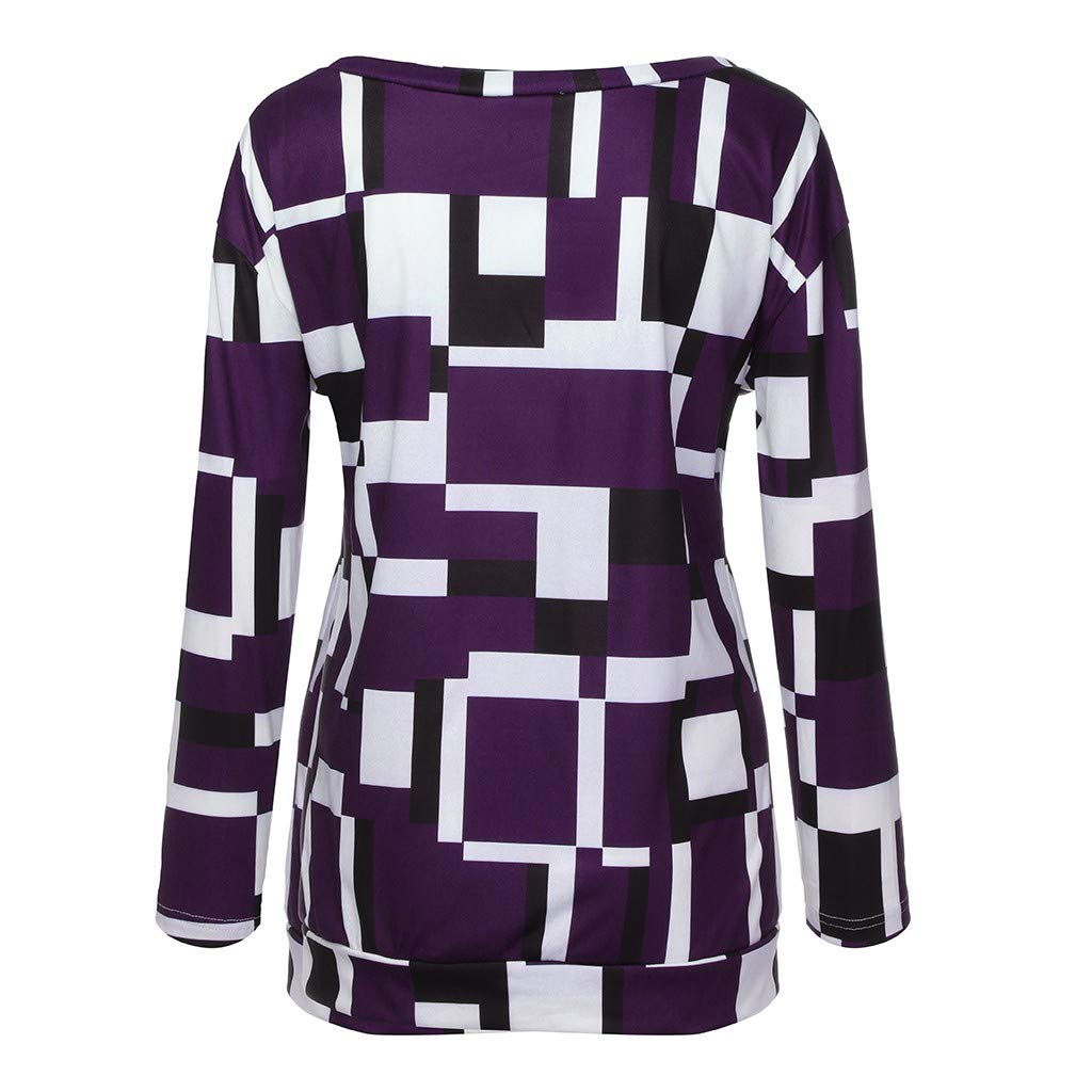 NRUTUP Womens Plus Size Long Sleeve Color Matching Oblique Collar Patchwork Tops Shirt