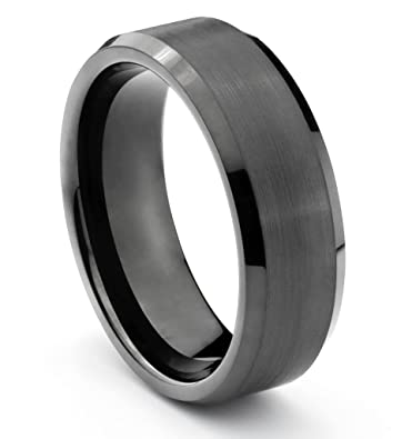 8mm Tungsten Carbide Mens Brushed Black Wedding Band Ring Available