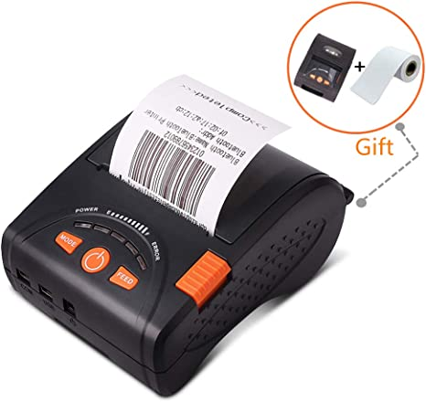 MUNBYN Mini Receipt Printer with Carry Case, 58mm Portable Bluetooth Mobile Thermal Printer, High Print Speed Compatible with Android iOS Windows ...
