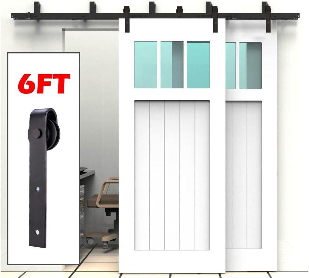 Kit de herramientas para puerta corredera de barra corredera de mano de artista de 1,8 m para puertas dobles de madera ByPass para puerta corredera – Bypass doble puerta riel – correa