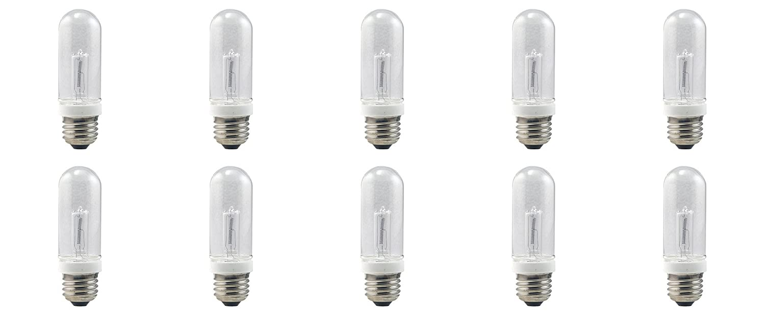 E27 Edison Screw Base JDD Type 240V Tubular Halogen Light Bulb Lamp 240 Volt ES for Studio Photography Lighting, Home Fixtures & Office Lightings, Warm White in Clear Lense, 50 Watts (Pack of 10)