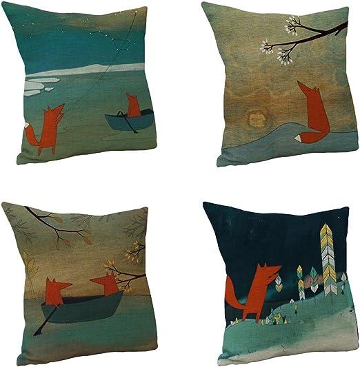 Nunubee Fox algodón lino fundas de almohada de 45 x 45 cm fundas ...