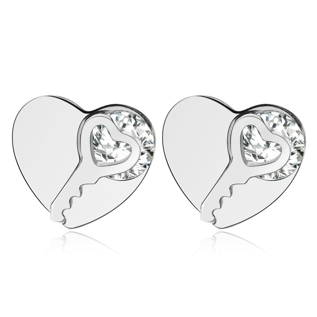 Novelty Earrings KnSam Women Stud Earrings Stainless Steel Heart Key Crystal 8X7MM