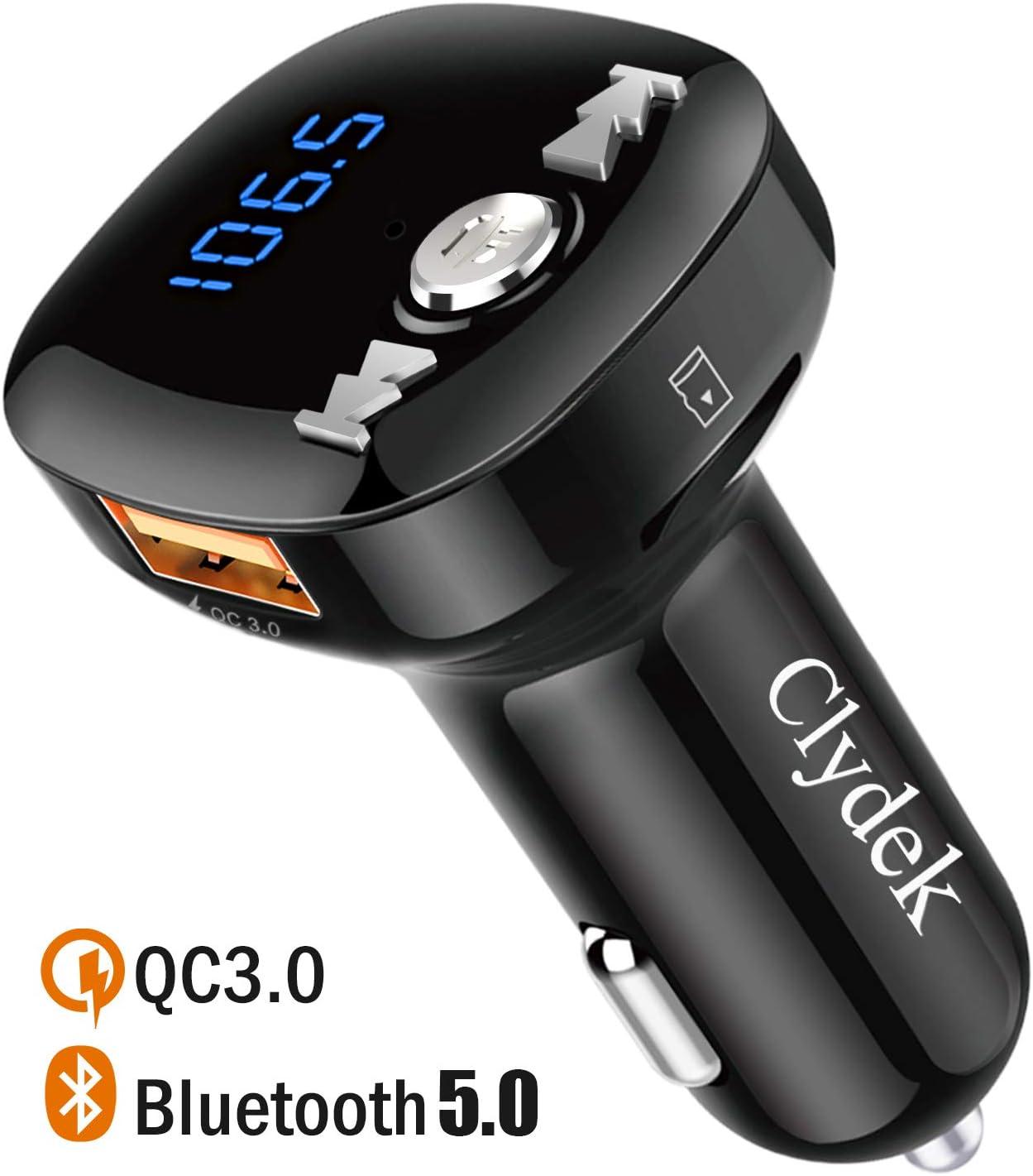 Transmisor FM Bluetooth, Clydek Bluetooth V5.0 Adaptador de Radio de Coche con Llamadas Manos Libres, USB Dual y Carga Rápida QC3.0, Reproductor de Música Compatible con Unidad USB y Tarjeta TF