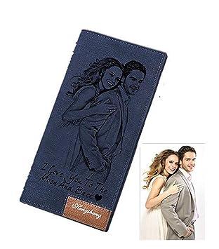 Cartera Billetera Personalizado de Foto Hombre Plegable Cuero Regalo para Familia Novio: Amazon.es: Equipaje