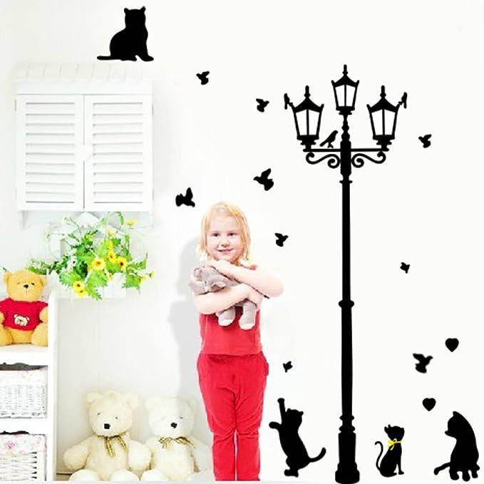 Amazon.com: Asunflower® Blcak cat under the street light PVC Wall Sticker Decals Kids Boys Room Decor Wall Sticker Art Home Decoration: Home & Kitchen
