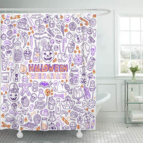 Emvency Shower Curtain Candy Halloween Candies Sweets Snacks and Drinks for Trick Shower Curtains Sets with Hooks 60 x 72 Inches Waterproof Polyester Fabric -
