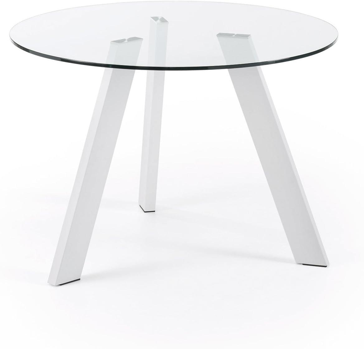 Kave Home Mesa Carib 110 cm, blanco y cristal