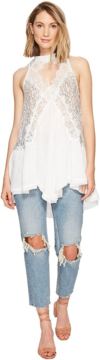 Free People Womens Tell Tale Lace Trim Cutout Halter Top