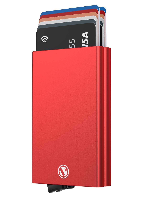 VULKIT Alpha Porte Cartes de Cr/édit en Aluminium avec Doubles Cas RFID Blocage Cartes Portefeuille pour Hommes ou Femmes /Économisez 12 Cartes Argent