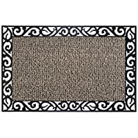 """GrassWorx Clean Machine Wrought Iron Stems and Leaves Doormat, 24"""" x 36"""", Earth Taupe (10374069)"""