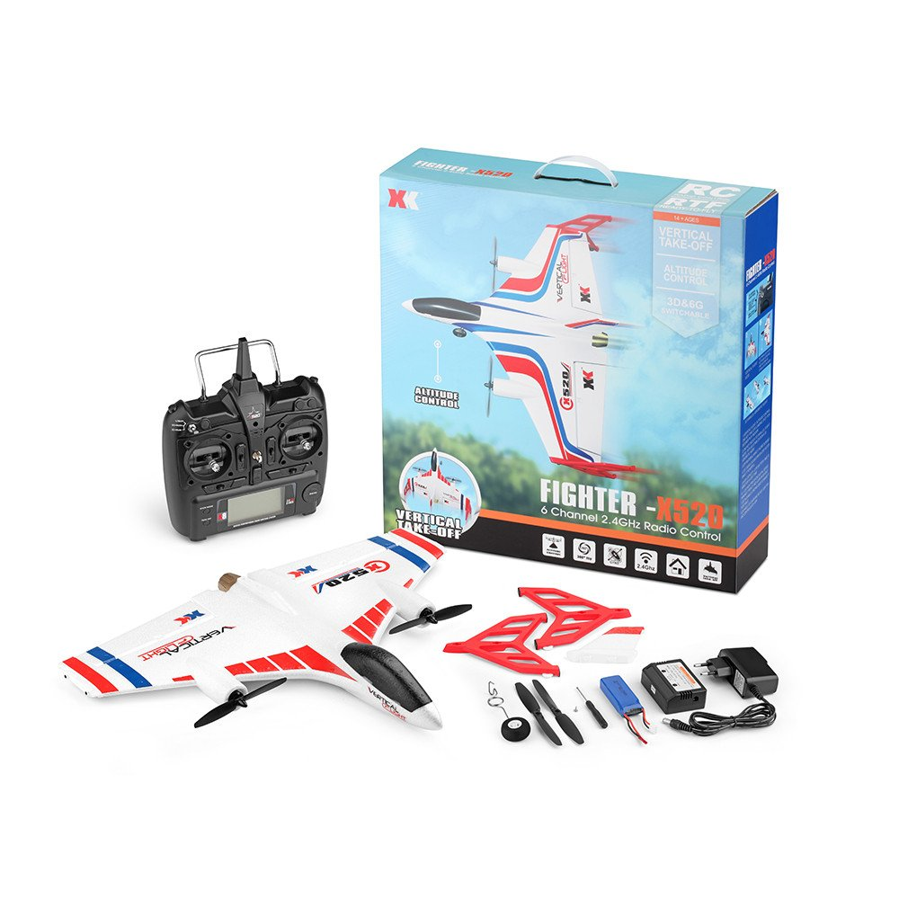 COLOR-LILIJ RC Remote Control Airplane - XK X520 2.4G 6CH - 2 pcs Powerful 1307 Brushless Motor, 3D/6G System RC Airplane EPP Anti-Crash, - -3D / 6G Mode - Easy to Fly for Even Beginners(US Stock)