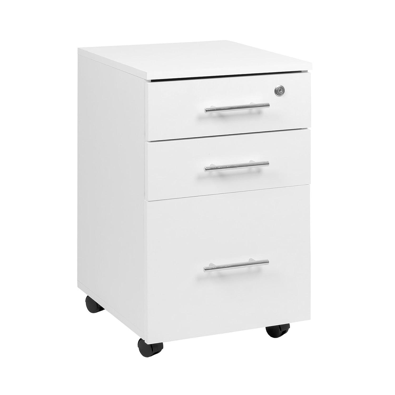 Cassettiera per scrivania, 3 cassetti, con serratura, colore: bianco, dimensioni 40cm x 44cm x 65cm (larghezza x profondità x altezza) MMT