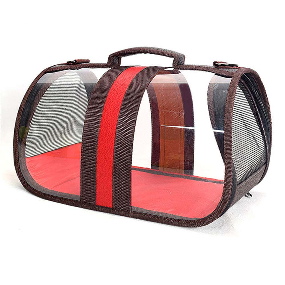 Red DHCY Transparent pet bag cat and dog out carrying bag breathable folding space capsule pet travel bag,Red