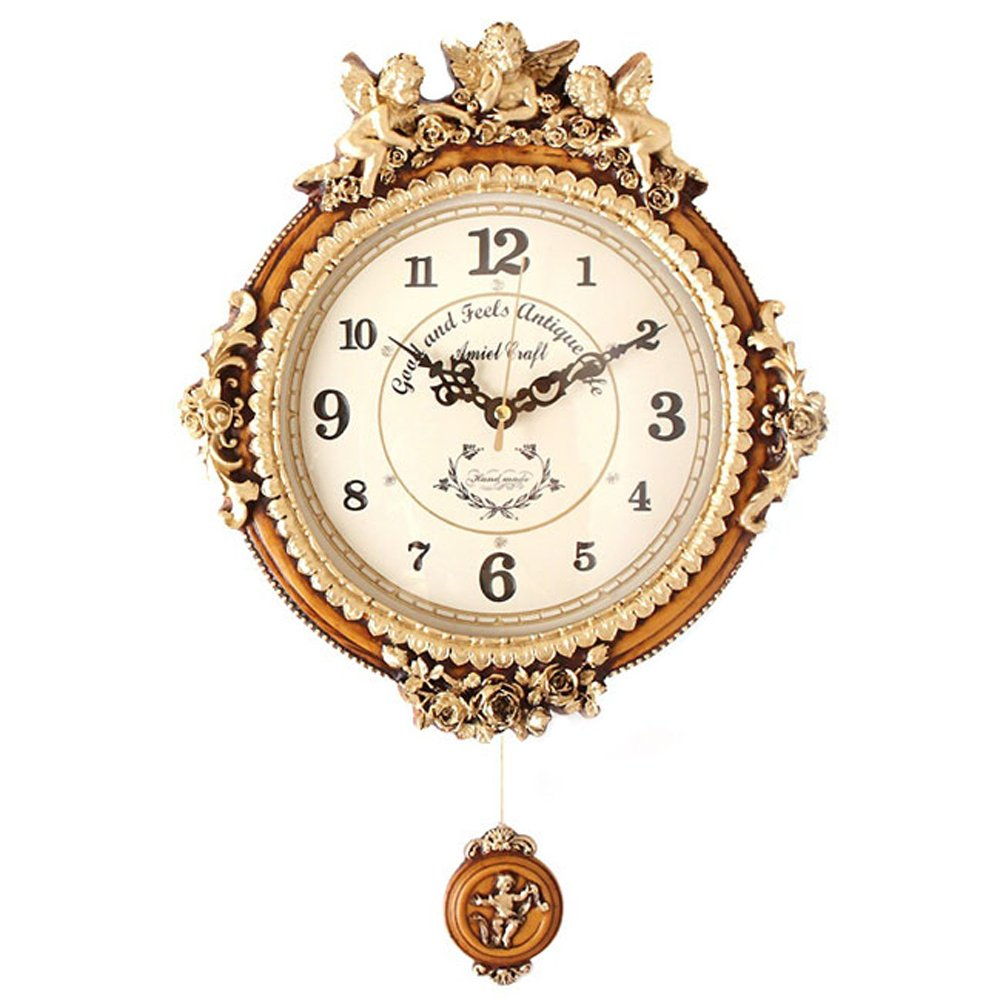 ゴールデンエンジェルラウンド振り子時計B電波時計   B00CKALHF0