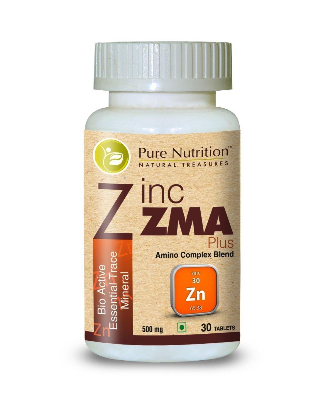 Pure Nutrition Zinc Zma Plus 720mg | Zinc Citrate + Magnesium Aspartate + Vitamin B6 | (Bio Active Essential Trace Minerals) - 30 Veg Capsules