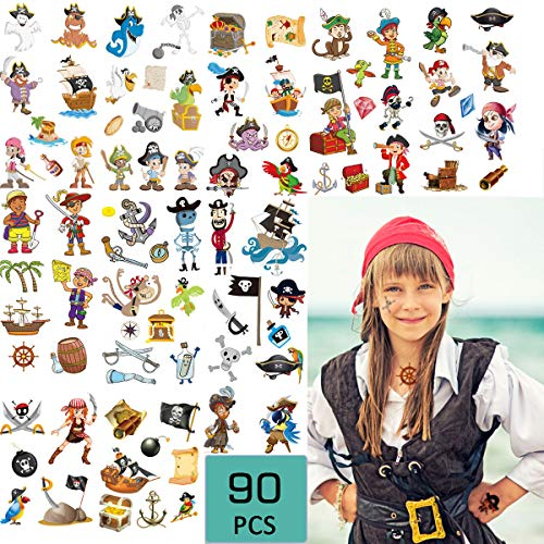 Pirate Temporary Tattoos(90Pcs) Summer Waterproof Pirate Stickers for Boys, Ocean Adventure Nautical Party Supplies, Birthday Summer Pool Beach Party Decoration Supplies for Kids and -