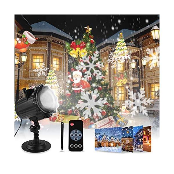 Proiettore Luci Natale, Proiettore Natale Esterno Interno Proiettore Fiocchi di Neve Impermeabili lampada proiettori LED 16 Diapositive con Telecomando RF per luci natalizie, Compleanno, Capodanno 1 spesavip