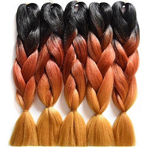"Price comparison product image Wanya Braiding Hair 24""100g Synthetic Crochet Hair Extensions Kanekalon Jumbo Box Braids Hair Extensions(5pcs Black/Brown/144#)"