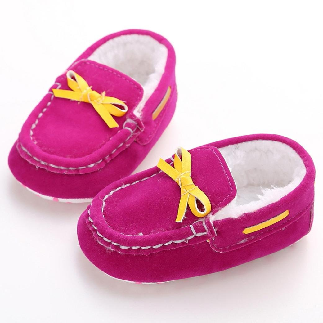 Age:0~6 Month, Pink Weiyun Baby Plush Peas Shoes Baby Boys Girls Soft Sole Toddler Shoes Indoor Walking Warm Cotton Shoes Casual Slippers
