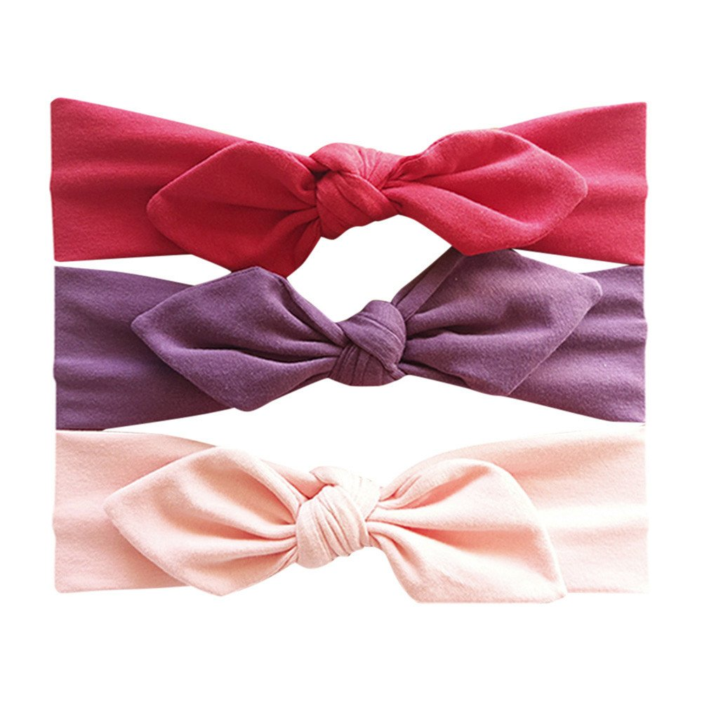 3Pcs Baby Girls Bunny Ears Elastic Striped Hairband Headwrap for Toddler Infant Newborn Baby Photography Turban Knot Head Wraps Headband Kit