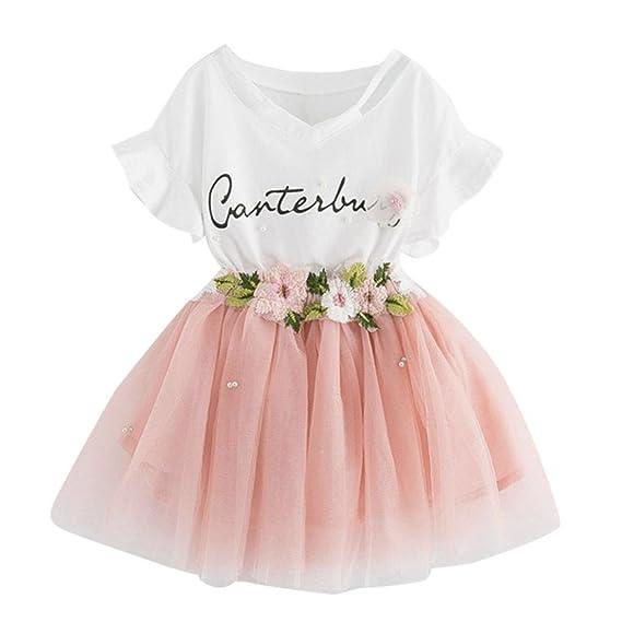 Niña vestido,Sonnena impresión tops blanco de manga corta camiseta + lindo rosa tutú falda