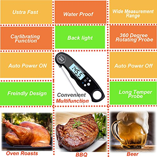 Digital Grill Thermometer,Digital Cooking Thermometer, Instant Read Meat Thermometer With Long Probe,waterproof, Calibration Function For Kitchen BBQ Grill Smoker Cooking Outdoor, Black … by INNOMAX (Image #1)'