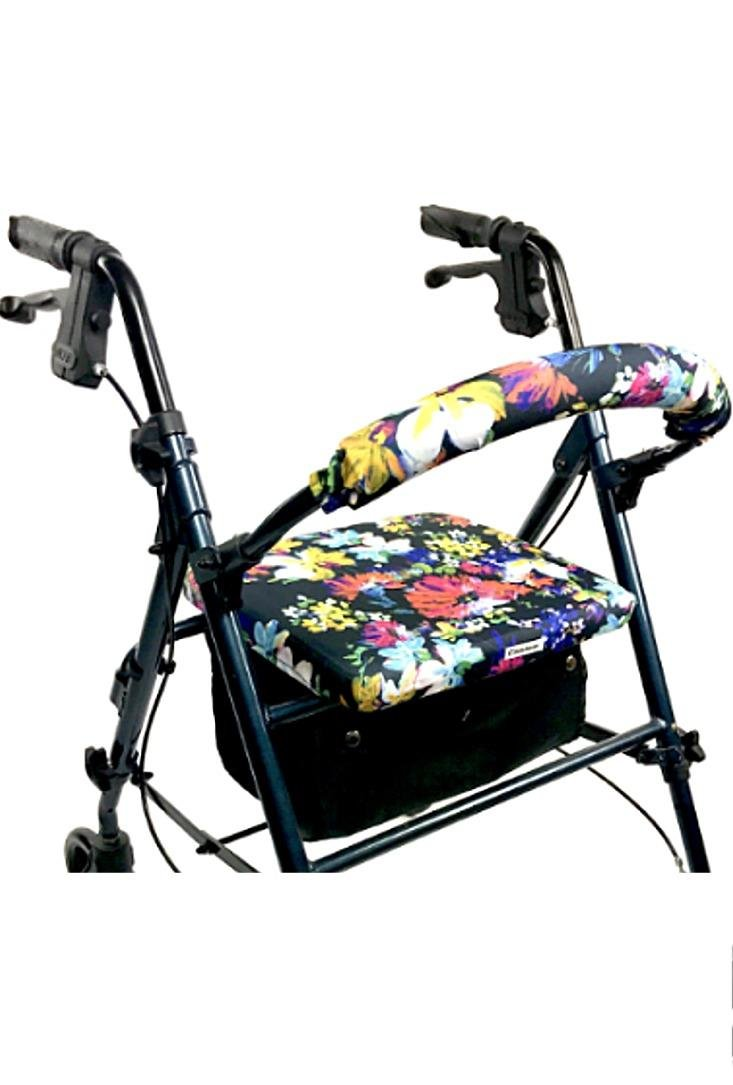 Crutcheze Painted Flowers Rollator Walker Seat and Backrest Covers - Unique & Vibrant Walker Cover - Made in USA