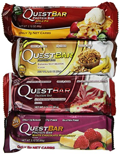 Quest Variety Pack, Apple Pie, Strawberry Cheesecake, White Chocolate Raspberry and Banana Nut Muffin, 36 Protein Bars by Quest Nutrition
