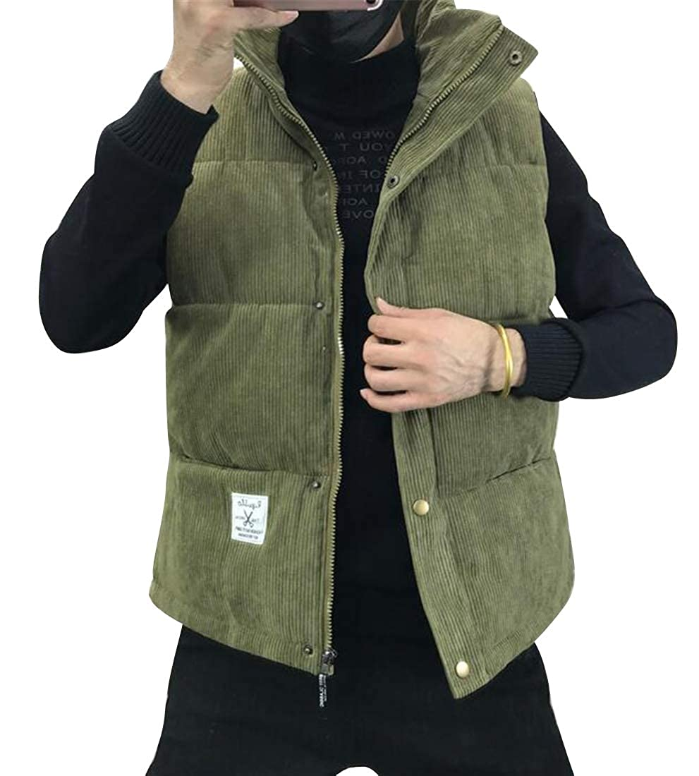 SHOWNO Mens Stand Collar Regular Fit Corduroy Thermal Winter Down Quilted Jacket Waistcoat Vest