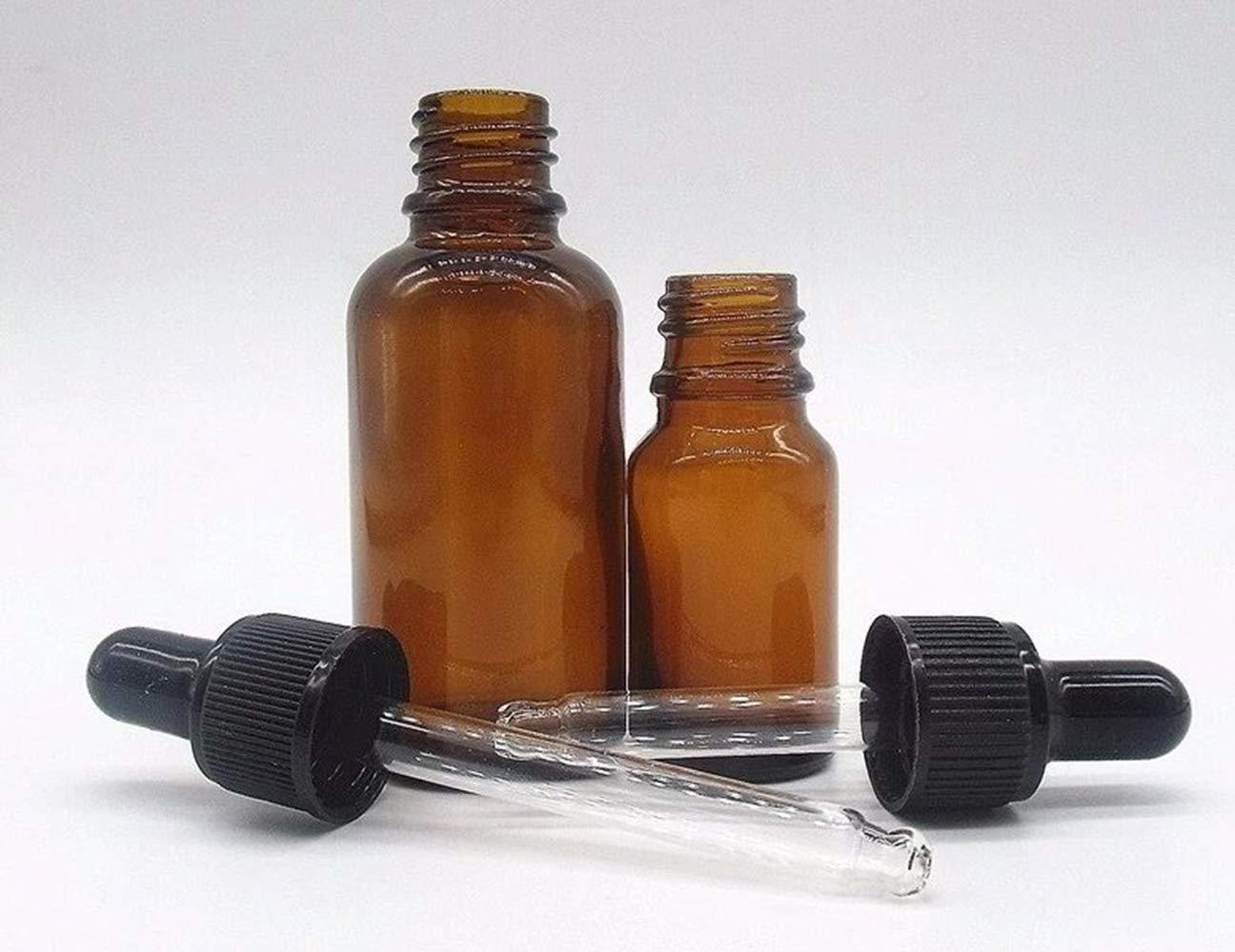 BlueXP4 Pieza Ámbar Botellas 10ml 20ml Marrón Boston de Botellas de Cristal y Pipeta para Aromaterapia Aceites Esenciales y Perfume Medicina Líquidos: ...
