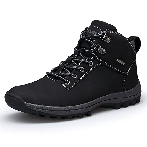 22784e07d5d79 TSIODFO Men's Boots Winter Waterproof Leather Outdoor Hiking Shoes Black  Brown