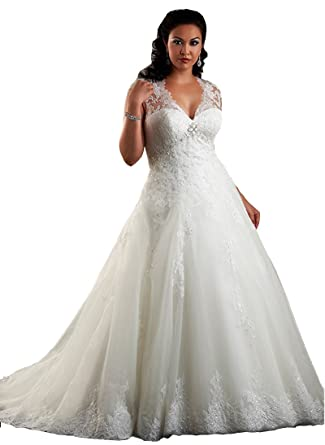 Engerla Women s Applique Lace V Neck Plus Size Beach Bridal Gowns at Amazon  Women s Clothing store  a172afbc14