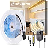 LED Strip Lights, HitLights Warm White 16.4FT LED Strips Kit, 300 LEDs, 3000K, Includes UL Power Supply and Dim Controller, Dimmable 12V DC Tape Light