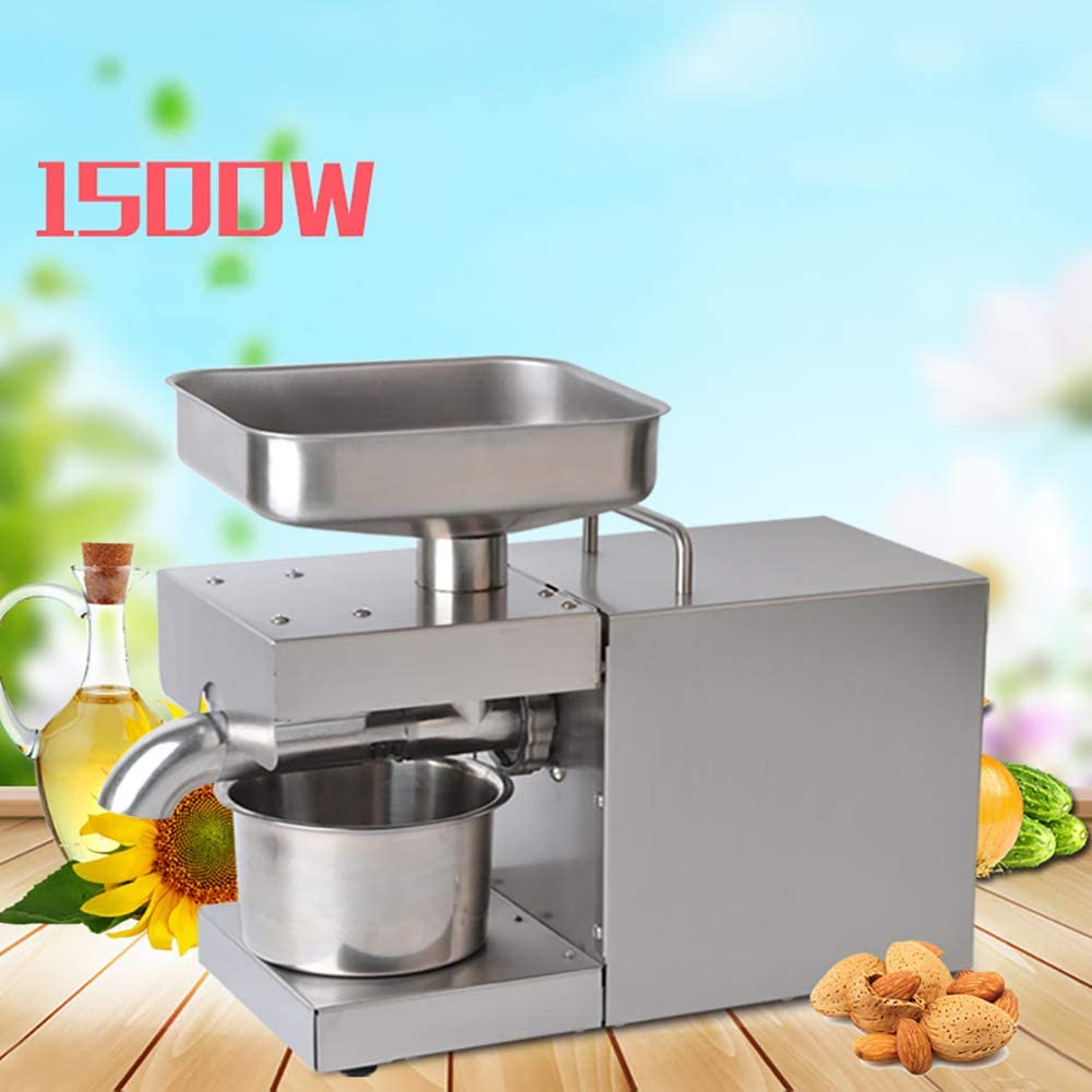 FEENGG 1500W Oil Press Machine Full-Automatic Oil Presser Cold Hot Oil Extractor 304 Stainless Steel Upgraded Heating System Simple Operation CE