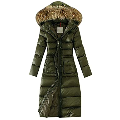 Lvrao Damen Lang Daunenmantel Warme Winterjacke Mit Fellkapuze