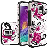 For Samsung Galaxy Note 4 Case Sturdy Rubber Hybrid Dual Layer Defender Protective Case Cover (White Flower)