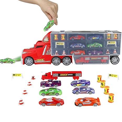 Para Niños 4 Vehículo Transporte Camión De Y 3 Playset Mini Transportador Coches Metal Niñas Años Juguete Pl 6 Juguetes 5 gyf76Yb
