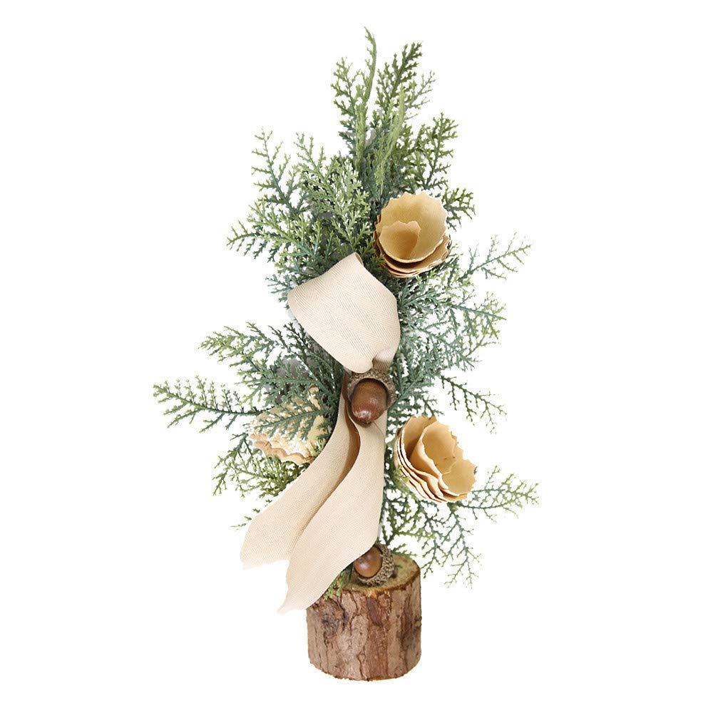 Lovewe Christmas Desk Decoration Mini Christmas Tree Ornament With Light Christmas Decoration Gift (C)