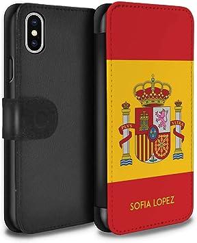 eSwish Personalizado Bandera Nacional Nación Personalizar Funda PU Cuero para el Apple iPhone XS/Español/De/España Diseño/Inicial/Nombre/Texto Carcasa/Estuche/Case: Amazon.es: Electrónica