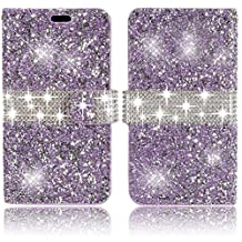 Apple iPhone 6 6s 4.7 inch Wallet Case,Vandot Premium 3D Diamond Bling Shining Sparkle Crystal Rhinstone Case Cover PU leather Magnetic Closure Flip Folio Stand Book Style Anti-scratch Protective Skin Shell With Card Slots-Glitter Purple