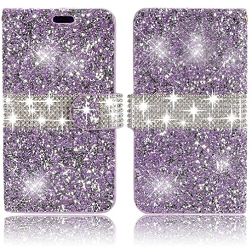 iPhone 6S Plus/6 Plus 5.5 inch Wallet Case,Vandot Premium Diamond Bling Sparkle Rhinstone Case Cover PU leather Magnetic Closure Flip Folio Stand Protective Skin With Card Slots-Glitter Purple
