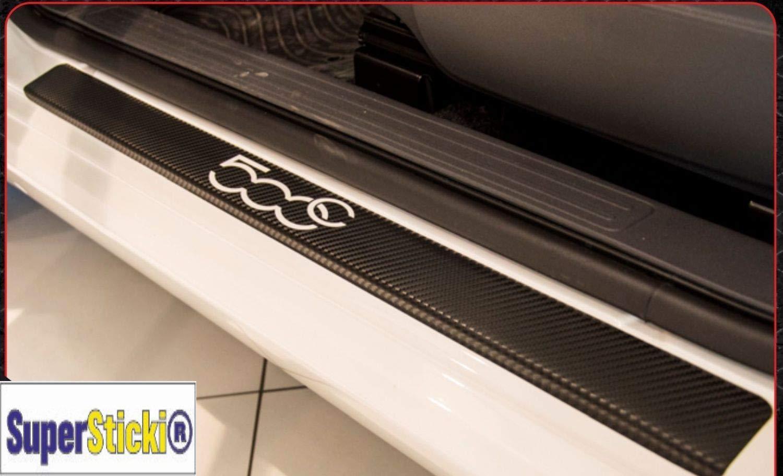 SUPERSTICKI FIAT 500C Carbon Carbonfolie Carbon Aufkleber Folie Optic Einstiegsleisten Set 2 T/üren+Logo Farbauswahl Rennsport Racing Tuning