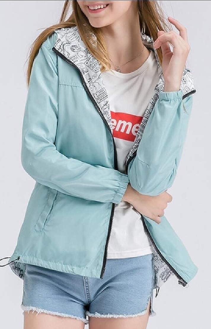 ouxiuli Women Fashion Waterproof Outdoor Active Hooded Rain Trench Jacket Coat