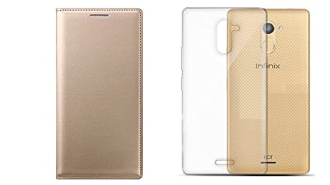 new product 82d54 4eb87 Colorcase Leather Flip Cover Case for Infinix Hot 4 Pro - (Gold) with  Transparent Back Cover (Combo Pack)