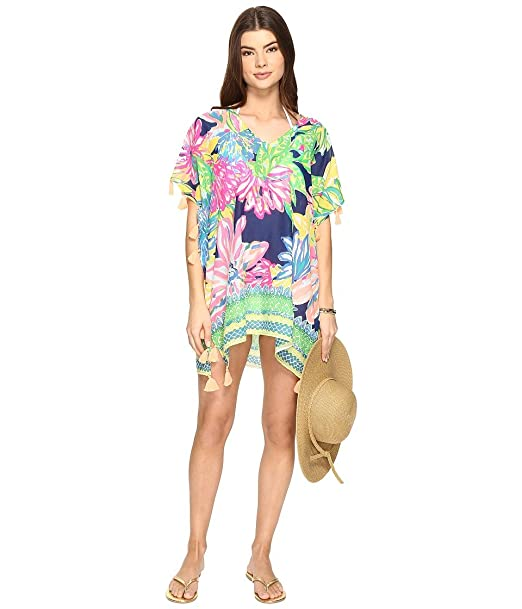 8c498872b2ac08 Lilly Pulitzer Women's Castilla Swim Cover-Up Tunic Resort Navy Travelers  Palm Blouse