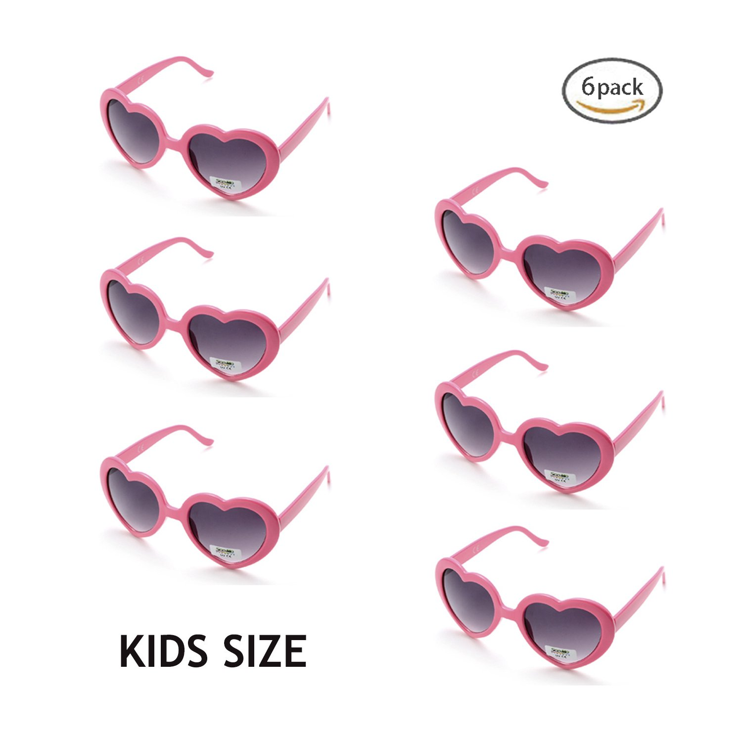 Onnea Multi Packs Classic Neon Colors Heart Shaped Party Favors Sunglasses Toddler Kids (6-Pack Pink)